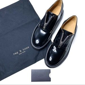 Rag & Bone Saxon Zip-Front Leather Loafer Black